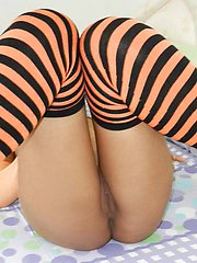 Hot Thai babe Waan with pigtails strips and gets filled up with a big white cock